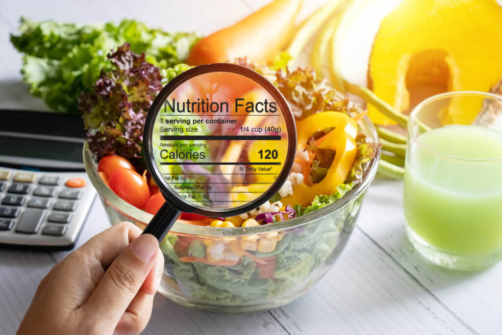 fruits and vegetables with nutrition label